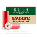 "Cheap 12 Gauge Ammo For Sale - 2 3/4"" 1 1/8 oz. #6 Shot Ammunition in Stock by Estate Heavy Game Load - 25 Rounds"