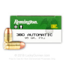 380 Auto Ammo In Stock - 95 gr MC - 380 ACP Ammunition by Remington UMC For Sale - 500 Rounds