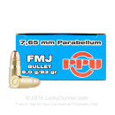 Cheap 30 Luger / 7.65 Parabellum Ammo For Sale - 93 Grain FMJ Ammunition in Stock by Prvi Partizan - 50 Rounds