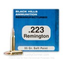 Cheap 223 Rem Ammo For Sale - 55 Grain SP Ammunition in Stock by Black Hills Remanufactured - 50 Rounds