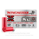 "Bulk 12 Gauge Ammo - 2-3/4"" Steel Shot Game Shot Shells - 1-1/8 oz - #6 - Winchester Super-X - 250 Rounds"
