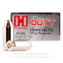 Cheap 10mm Auto Ammo For Sale - 175 Grain Flexlock Ammunition in Stock by Hornady Critical Duty - 20 Rounds