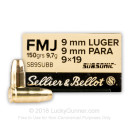 Cheap 9mm Ammo For Sale - 150 Grain FMJ Ammunition in Stock by Sellier & Bellot Subsonic - 50 Rounds