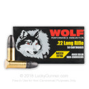 Match 22 LR Ammo For Sale - 40 Grain LRN Ammunition in Stock by Wolf Match Extra - 50 Rounds