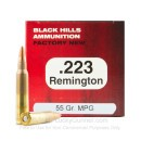 Premium 223 Rem Ammo For Sale - 55 Grain Multi-Purpose Green HP Ammunition in Stock by Black Hills - 50 Rounds