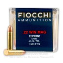 22 WMR Ammo For Sale - 40 gr TMJ - Fiocchi 22 Magnum Rimfire Ammunition In Stock - 50 Rounds
