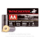 "Cheap 12 Gauge Ammo For Sale - 2 3/4"" 1 oz. #8 Shot Ammunition in Stock by Winchester AA - 25 Rounds"