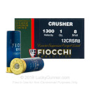 "Bulk 12 Gauge Ammo - 2-3/4"" Lead Shot Target Shells - 1 oz - #8 - Fiocchi Crusher - 250 Rounds"