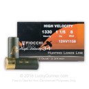 "12 Gauge - 2-3/4"" High Velocity Hunting #8 Shot - Fiocchi - 25 Rounds"