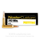 Premium 243 Win Ammo For Sale - 85 Grain PSP Ammunition in Stock by Nosler Custom - 20 Rounds