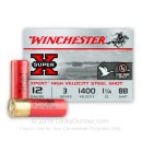 "Cheap 12 Gauge Ammo For Sale Online - Winchester Super-X 3"" BB Steel Shot - 25 Rounds"