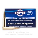 Premium 338 Lapua Magnum Ammo For Sale - 240 Grain FMJ-BT Ammunition in Stock by Prvi Partizan Match - 20 Rounds