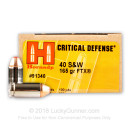 40 S&W Ammo For Sale - 165 gr Jacketed Hollow Point FTX Critical Defense Hornady Ammunition In Stock - 20 Rounds