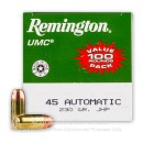 45 ACP Ammo For Sale - 230 gr JHP - Remington UMC Ammunition In Stock - 100 Rounds