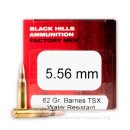 Premium 5.56 NATO Ammo For Sale - 62 Grain Barnes TSX PT Ammunition in Stock by Black Hills Ammunition - 50 Rounds