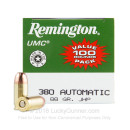 380 Auto Defense Ammo In Stock - 88 gr JHP - 380 ACP Ammunition by Remington UMC- 100 Rounds