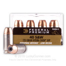 Premium 40 S&W Ammo For Sale - 135 grain Jacketed Hollow Point Ammunition In Stock By Federal Hydra-Shok - 20 Rounds
