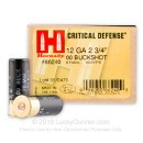 "12 ga Ammo For Sale - 2-3/4"" 00 Buck Critical Defense Ammunition by Hornady - 100 Rounds"