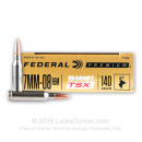 Premium 7mm-08 Rem Ammo For Sale - 140 Grain Barnes TSX Ammunition in Stock by Federal - 20 Rounds
