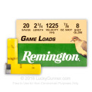"Cheap 20 Gauge Ammo For Sale - 2-3/4"" 7/8oz. #8 Shot Ammunition in Stock by Remington Game Loads - 250 Rounds"