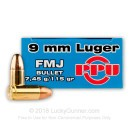 9mm Luger Ammo For Sale - 115 gr FMJ Prvi Partizan Ammunition For Sale