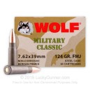 Wolf WPA Military Classic Ammo - 7.62x39 124 grain FMJ Ammo