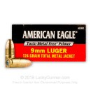 Bulk 9mm Ammo For Sale - 124 gr TMJ - Federal American Eagle Indoor Range Ammunition For Sale - 1000 Rounds