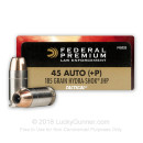 Premium Defensive 45 ACP Ammo For Sale - 185 gr +P Hydra Shok JHP - Federal Premium Defense Ammunition In Stock - 50 Rounds