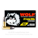 Cheap 22 LR Ammo For Sale - 40 gr LRN - Wolf Match Target Ammunition In Stock - 50 Rounds