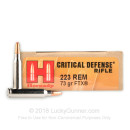 Premium 223 Rem Ammo For Sale - 73 Grain FTX Ammunition in Stock by Hornady Critical Defense - 20 Rounds
