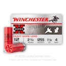"12 Gauge Ammo - 2-3/4"" Lead Shot Heavy Game shells - 1-1/8 oz - #4 - Winchester Super-X - 250 Rounds"