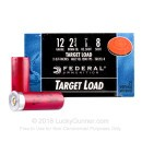"Cheap 12 Gauge Ammo - 2-3/4"" Lead Shot Target shells - 7/8oz - #8 - Federal Top Gun - 25 Rounds"