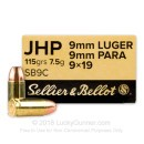 Sellier & Bellot 9mm Ammo - 115 gr JHP