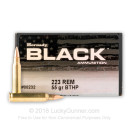 Cheap 223 Rem Ammo For Sale by Hornady - 55 Grain BTHP Ammunition in Stock by Hornady BLACK - 150 Rounds