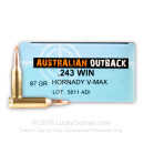 Premium 243 Win Ammo For Sale - 87 Grain V-Max Ammunition in Stock by Australian Outback - 20 Rounds
