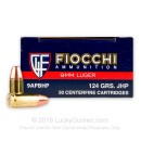 9mm Ammo For Sale - 124 gr JHP - Reloadable Fiocchi Ammunition Online