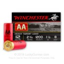 "12 Gauge Ammo - 2-3/4"" Lead Shot Heavy Target shells - 1-1/8 oz - #8 - Winchester AA - 25 Rounds"