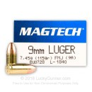 Cheap 9mm Luger Ammo For Sale - 115 gr FMJ - Magtech Ammunition In Stock - 50 Rounds