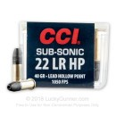 22 LR Subsonic Ammo For Sale - 40 gr LHP - CCI Mini Mag Ammunition In Stock - 100 Rounds
