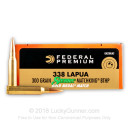 338 Lapua Magnum Federal Premium Ammunition - 300 Grain Hollow Point Boat-Tail Ammo - 20 Rounds