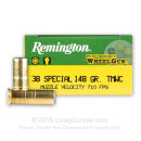 Premium 38 Special Ammo For Sale - 148 Grain TMWC Ammunition in Stock by Remington Performance WheelGun - 50 Rounds