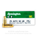 Bulk 25 ACP Ammo For Sale - 50 Grain MC Ammunition in Stock by Remington UMC - 500 Rounds