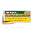 Premium 7mm SA Ultra Mag Ammo For Sale - 180 Grain PSP Ammunition by Remington Core-Lokt - 20 Rounds