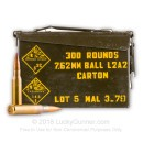 Bulk 7.62x51mm Ammo Can For Sale - 146 Grain FMJ Ammunition in Stock by Malaysian Military Surplus - 300 Rounds
