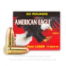 Cheap 9mm Ammo For Sale - 115 Grain FMJ Ammunition in Stock by Federal American Eagle (trayless) - 50 Rounds