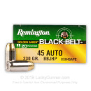 Premium 45 ACP Ammo For Sale - 230 Grain BBJHP Ammunition in Stock by Remington Golden Saber Black Belt - 20 Rounds