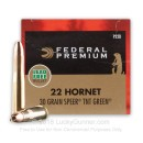 Premium 22 Hornet Ammo For Sale - 30 Grain Speer TNT Green HP Ammunition in Stock by Federal Premium - 50 Rounds