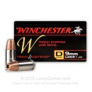 Premium 9mm Ammo for Sale - 147 Grain JHP Ammunition in Stock by Winchester W Train and Defend - 20 Rounds
