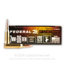 Premium 7mm-08 Remington Ammo For Sale - 120 Grain Fusion Ammunition in Stock by Federal Fusion - 20 Rounds