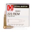 Bulk 223 Rem Ammo For Sale - 75 Grain Steel Match BTHP Ammunition in Stock by Hornady - 500 Rounds